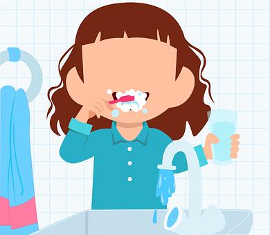 女の子, 歯, 歯ブラシ, 歯磨き粉, バスルーム, お風呂, 健康, クリーン