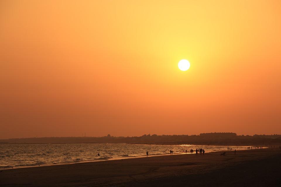 Puesta De Sol, Playa, Mar, Océano, Sol, Arena