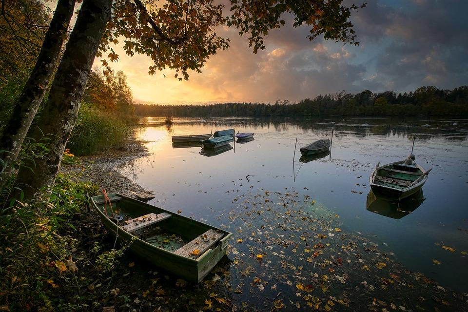 Lake, Boats, Sunset, Bank, Dusk, Afterglow, Evening
