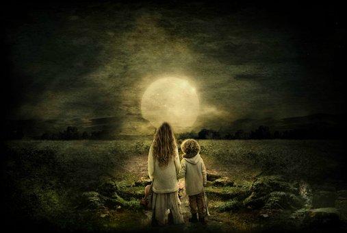 Children, Moon, Night, Field, Light