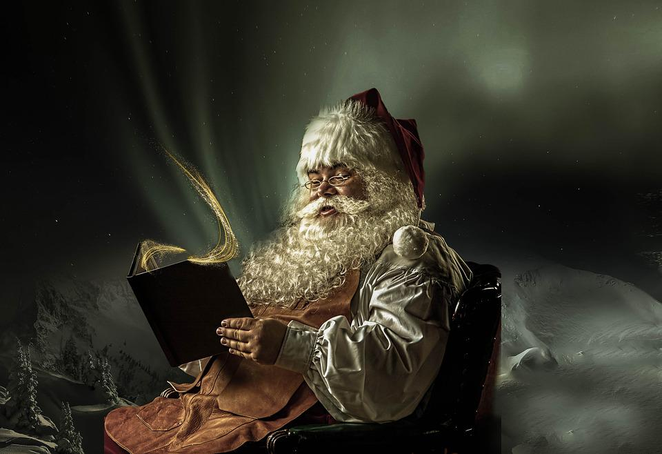 Santa Claus, Book, Northern Lights, Christmas Time