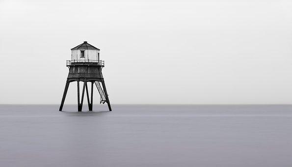 灯台, タワー, 海, 地平線, 海景, ハリッジ, イングランド, 長時間露出