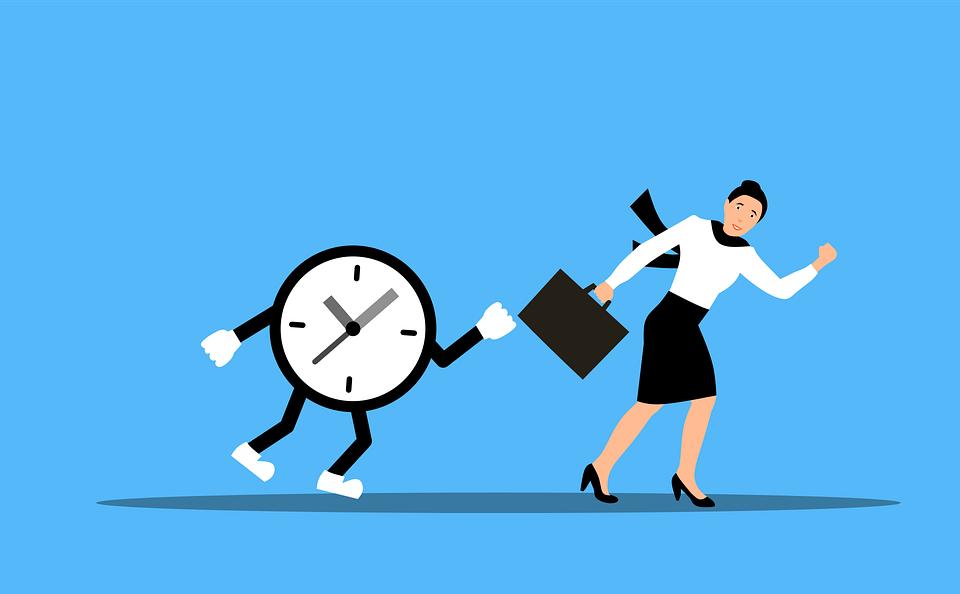 Woman, Clock, Run, Hurry, Deadline, Time, Stress, Chase