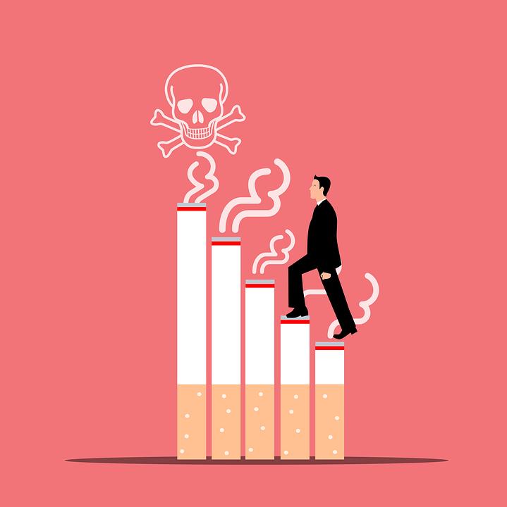 男, たばこ, 頭蓋骨, 階段, 煙, 喫煙, キル, 健康, 漫画, 死, 医療, ニコチン, 癌, 危険
