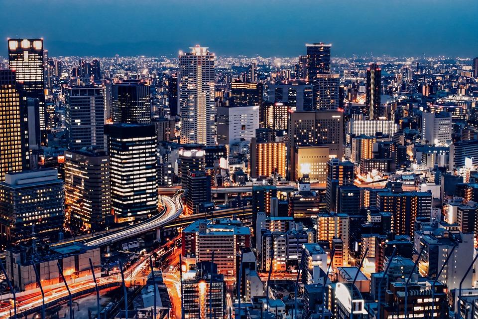 市, 建物, 夜, 街の灯, 高層ビル, スカイライン, 街並み, オフィスビル, インフラ, ビジネス街