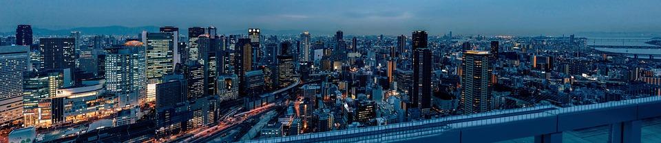 Osaka, Umeda, Panorama, City, Cityscape, Skyline
