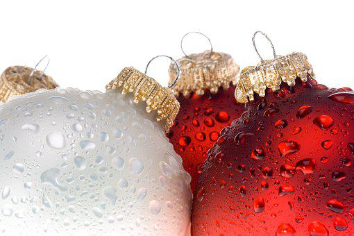 Christmas, Baubles, Wet, Droplets
