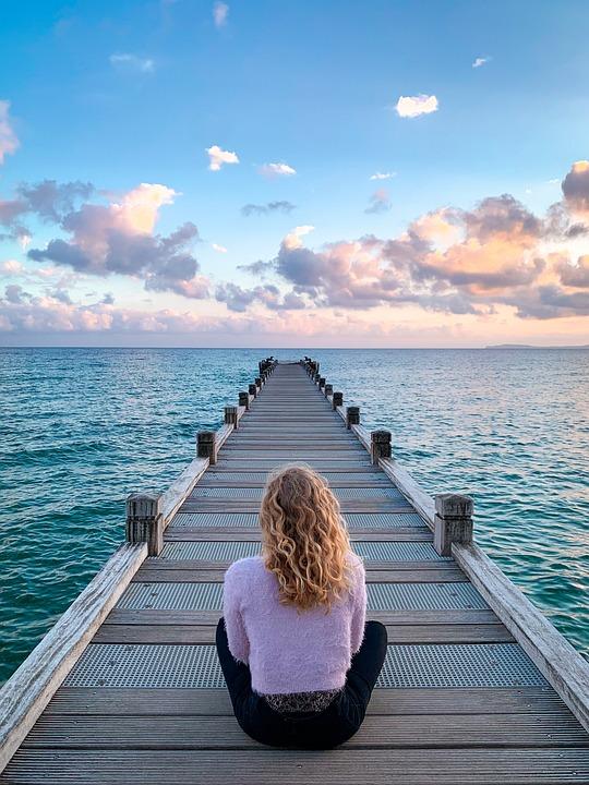 Vrouw, Zitten, Promenade, Steiger, Pier, Zee, Oceaan