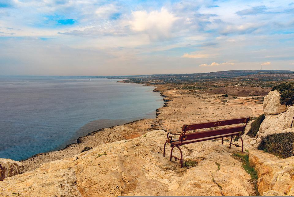 Bench, Coast, Sea, Horizon, Ocean, Coastline