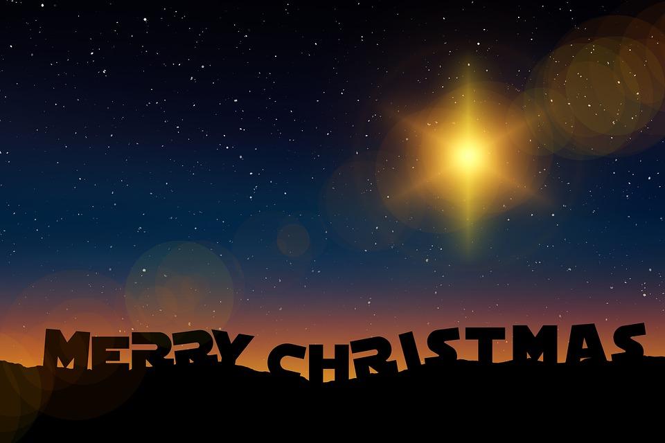 Stars, Hills, Merry Christmas, Christmas, Sky