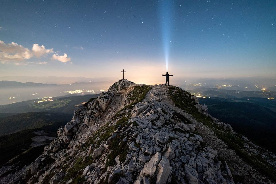 Berge, Mann, Kreuz, Sterne, Sternenhimmel, Universum