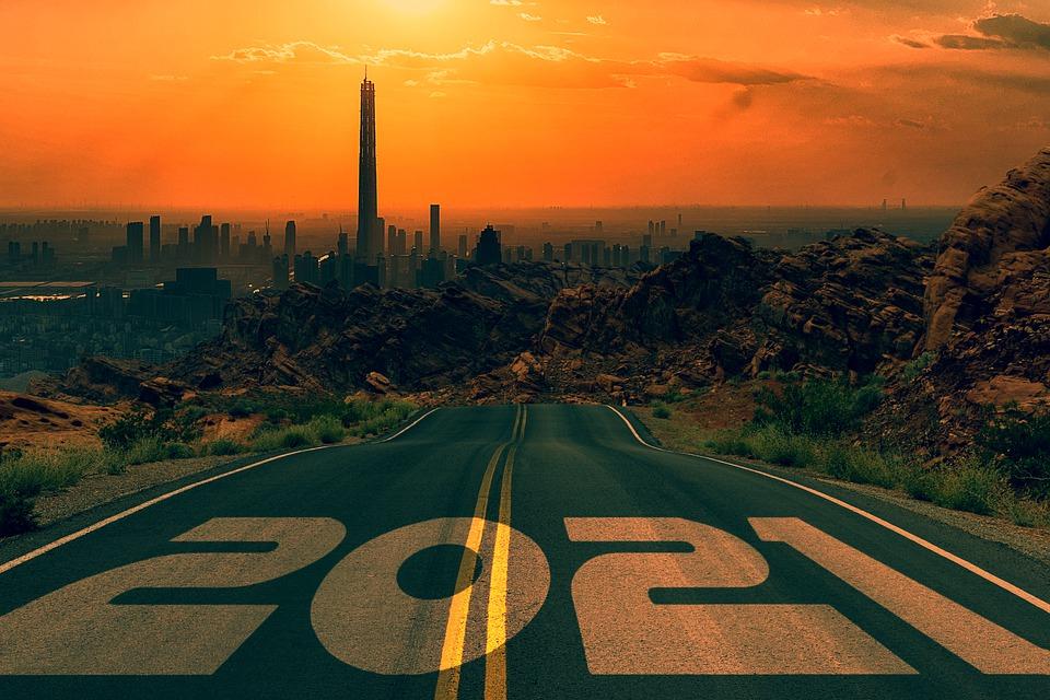 Route, Nouvel An, 2021, Ville, Bâtiments, Gratte Ciels