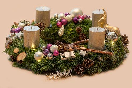 Couronne De L'Avent, Bougies, Noël
