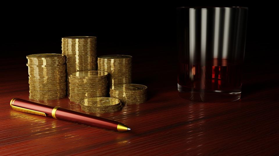 ゴールド, お金, ファイナンス, 金融, ペン, 富, 現金, 投資, 収入, アルコール, ガラス