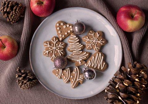 Cookies, Plate, Christmas Cookies