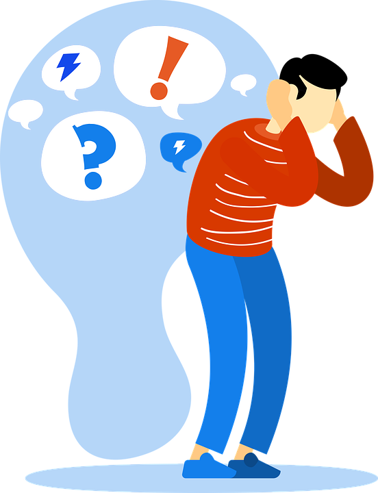 Person holding their head in distress, with a background implying their brain is full of exclamation marks, question marks and lightning bolts.