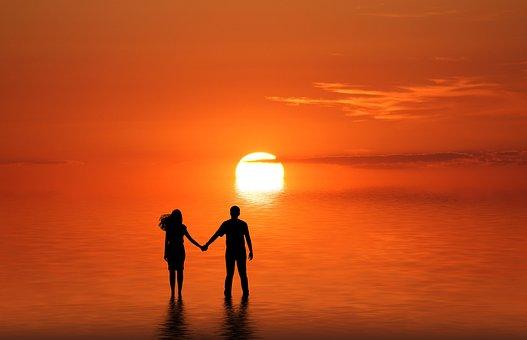 Couple, Beach, Sunset, Romantic