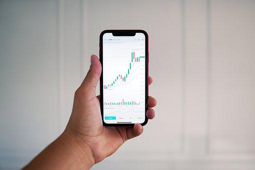 Hand, Smartphone, Finance, Stock Trading