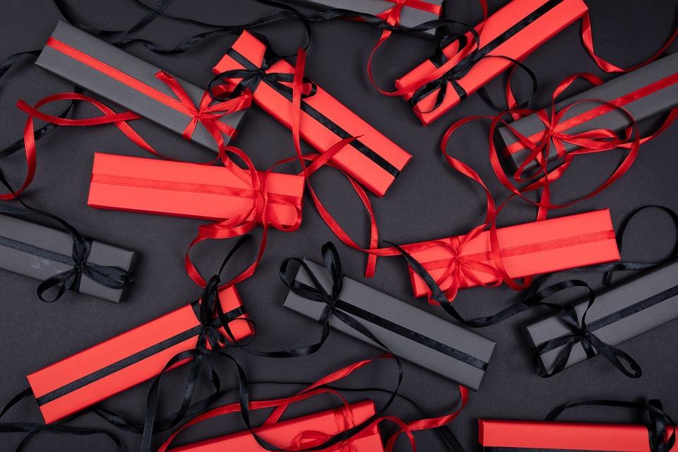 ギフト, ボックス, フラットレイ, ギフトボックス, 弓, リボン, パッケージ, 驚き, プレゼント