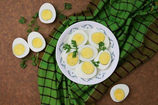 Eggs, Boiled Eggs, Halves, Cross Section