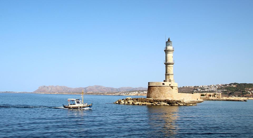 Port, Lighthouse, Boat, Sea, Coast, Landmark, Greece