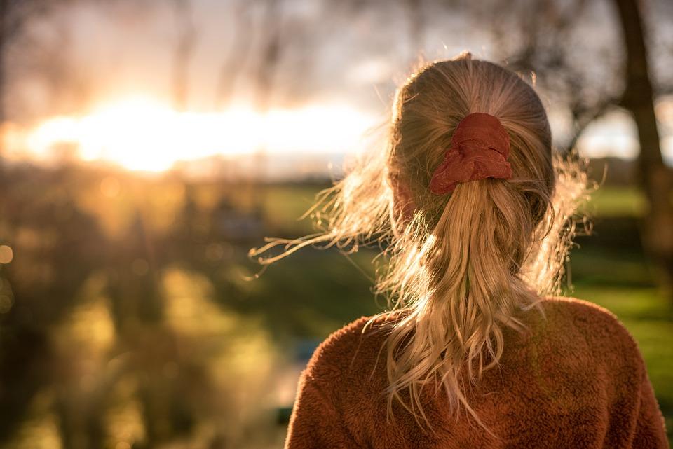 Dziewczyna, Koński Ogon, Zachód Słońca, Włosy, Wzór