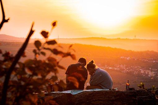 カップル, ピクニック, 日没, 一緒に, 関係, 彼氏のガールフレンド