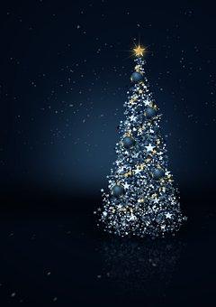Christmas Tree, Star, Lights, Advent