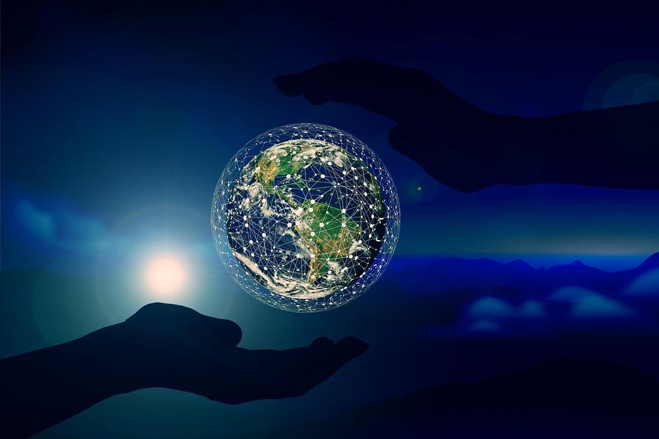 地球, ネットワーク, 手, ブロックチェーン, 接続, Web, 技術, シルエット