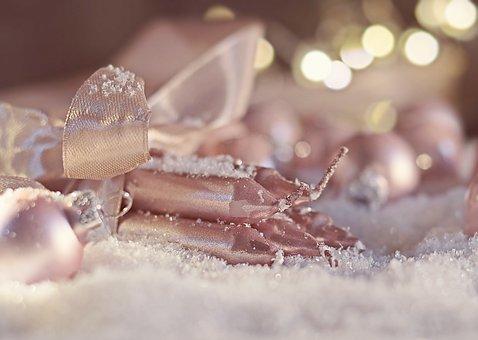 Christmas, Christmas Ball, Candles, Snow
