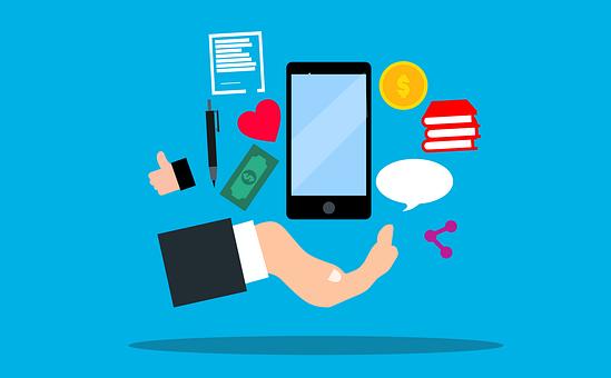携帯電話、アプリ、マーケティング、コンセプト