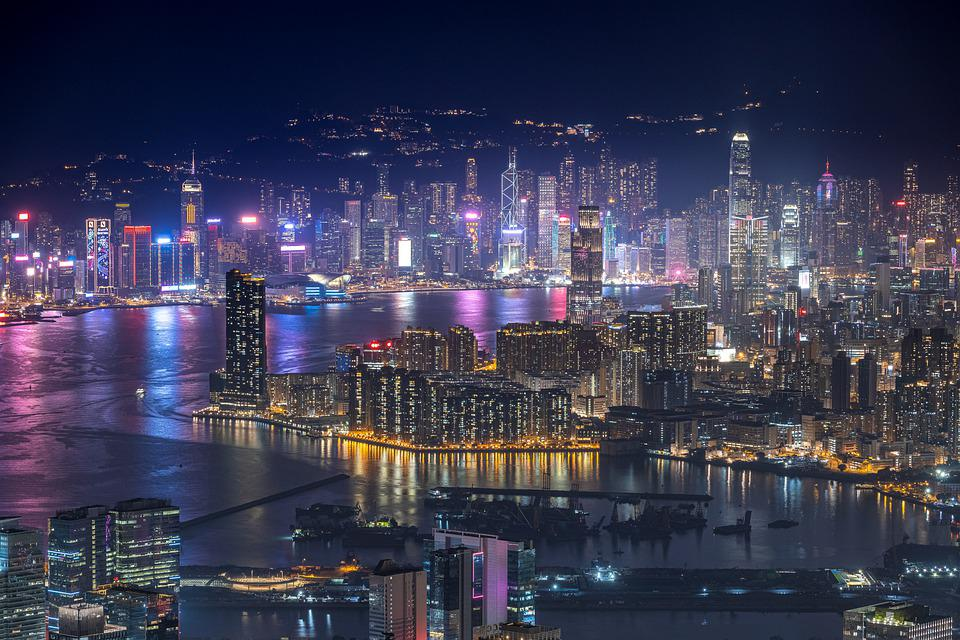 Skyscrapers, Buildings, Harbor, Skyline, Night View