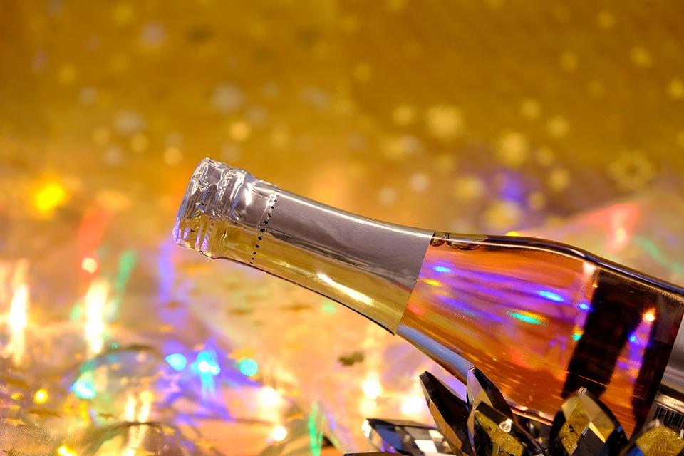 シャンパン, ボトル, 新年の日, 大晦日, ドリンク, 飲物, アルコール, お祝い, 祝う