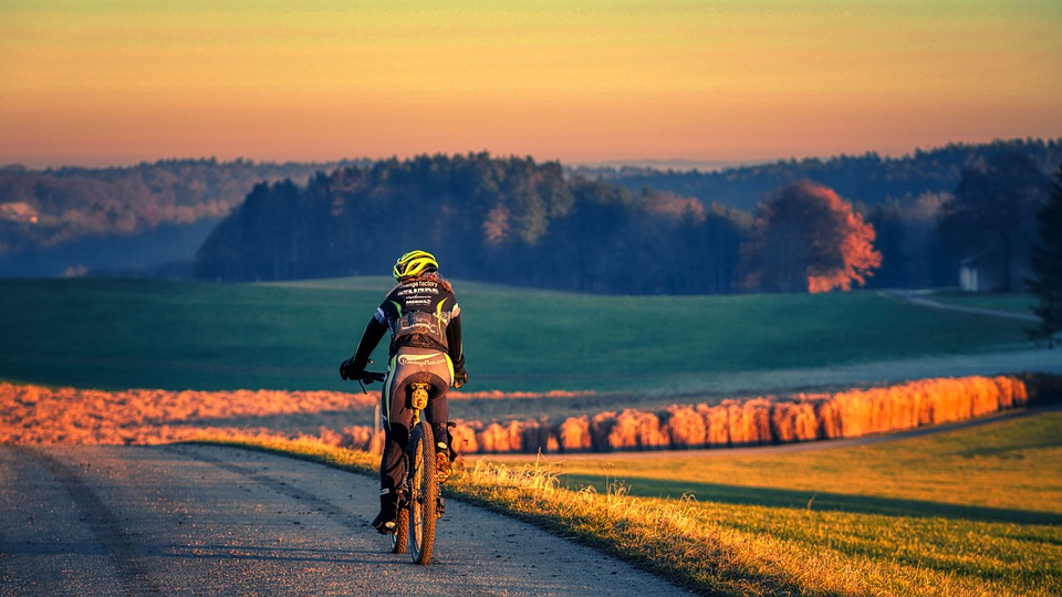Cycling, Road, Rural, Sunset, Dusk, Sunlight