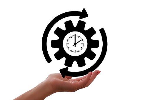 クロック, ギア, 矢印, 手, プレゼンテーション, 24時間体制で, 仕事