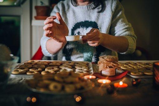 クリスマス, クッキー, ベーキング, 台所, 女性, 出現, ペストリー