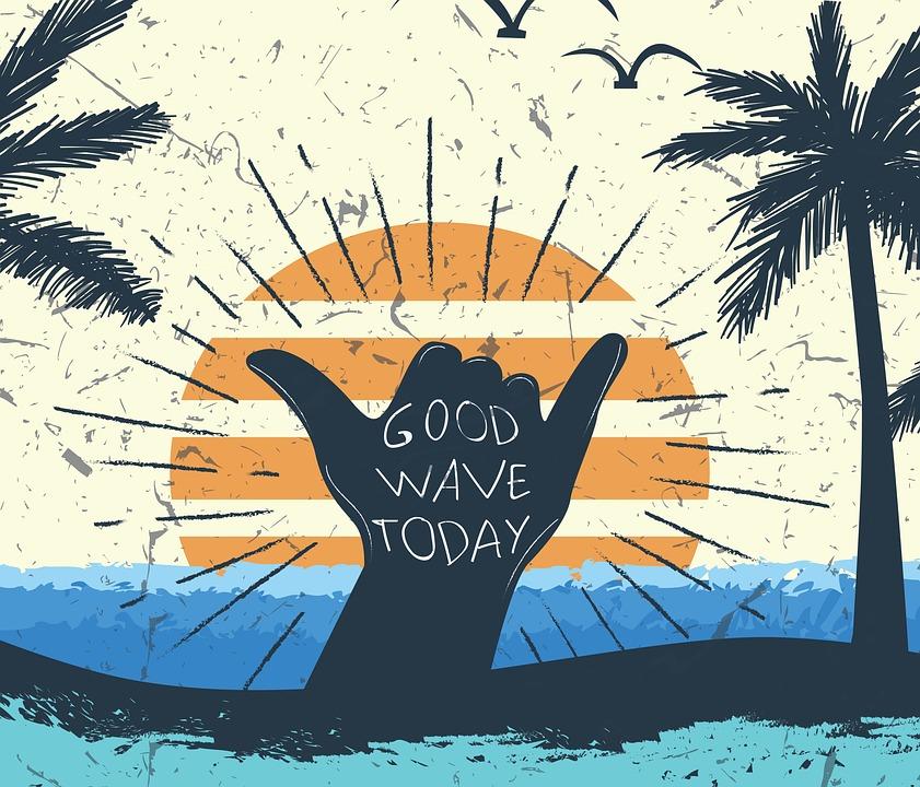 手ジェスチャー, 太陽, ビーチ, 今日は良い波, ステートメント, タイポグラフィ, 単語, 海