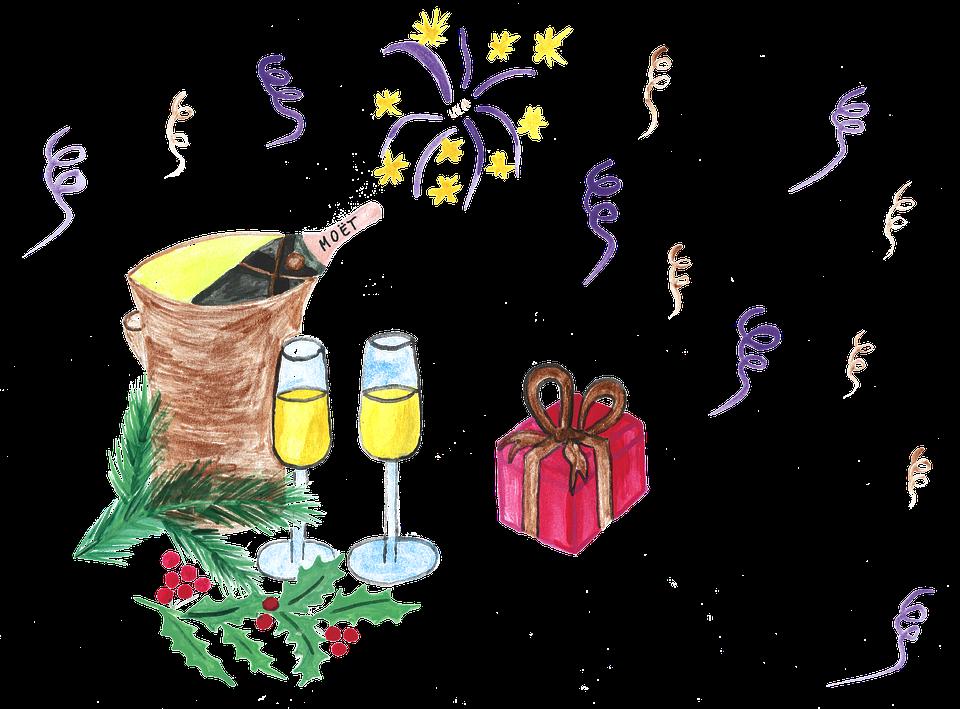 Nuovo Giorno Anno, Capodanno, Champagne, Vino, Regalo