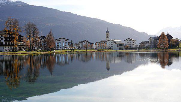 Village, Lake, Mountain, Reflection