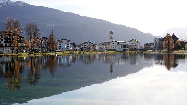 Village, Lake, Mountain, Reflection
