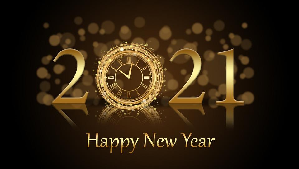 Nouvel An, Salutations, 2021, Horloge, Bonne Année