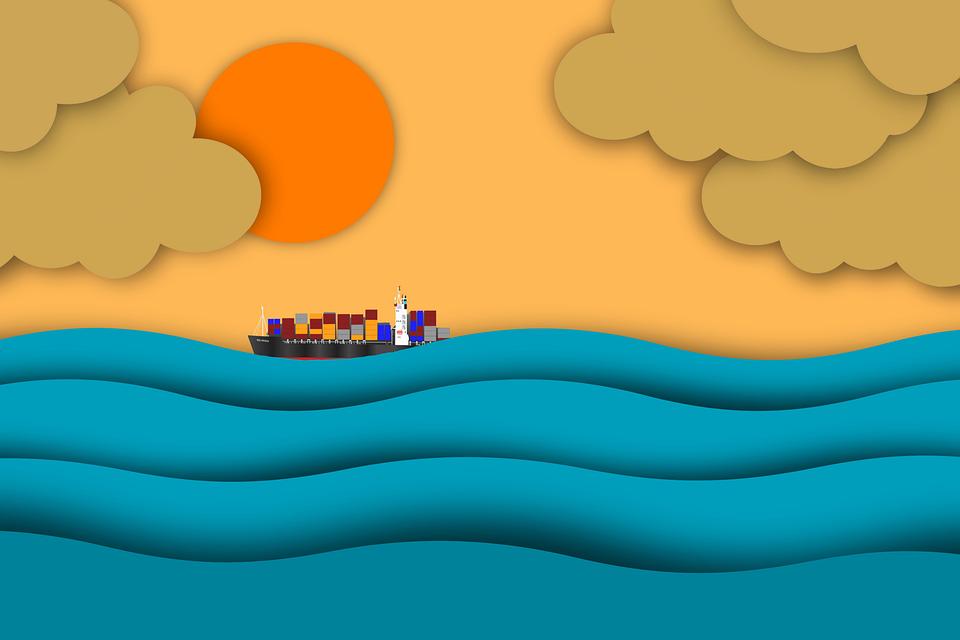 日の出, 海, 船, 太陽, 日没, 日光, 貨物船, 雲, 波, シャドウ, カラフルです, 紙, デザイン