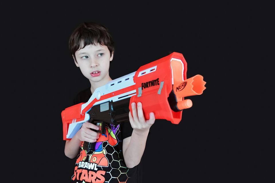 Crianças, Brinquedos, Armas, Menino, Entretenimento