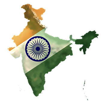 India, National, Map, Country, Flag