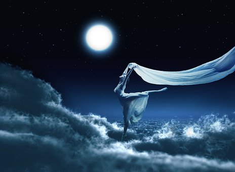 Clouds, Night, Ballerina, Moon, Sky