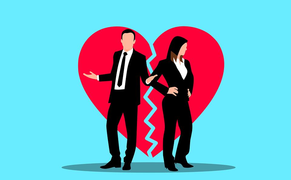 커플, 비 탄, 이혼, 심장, 분리, 성인, 논쟁, 부서진, 만화, 만화 드로잉, 충돌, 관계