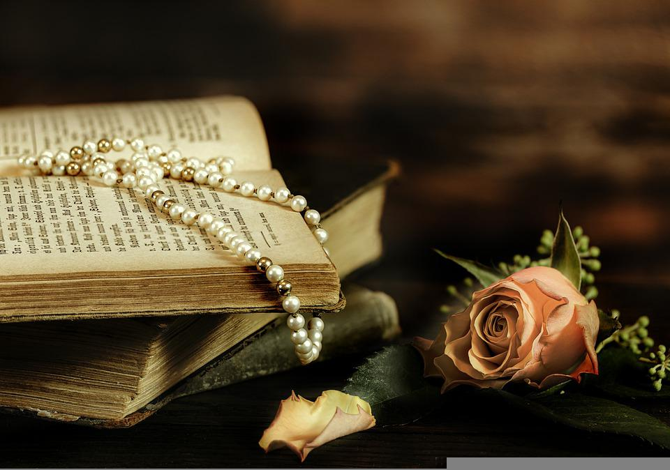 ローズ, 古い本, 真珠のネックレス, 書籍, アンティーク, ビンテージ, 装飾