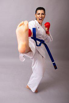 Woman, Karate, Box, Kick, Kickboxing
