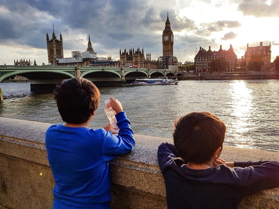 Kids, Children, Buildings, Bridge, River, Big Ben