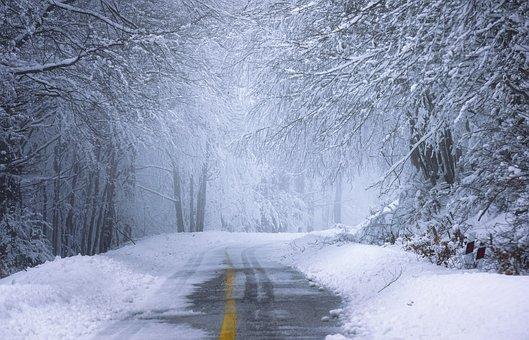 Road, Forest, Snow, Winter, Sunrise